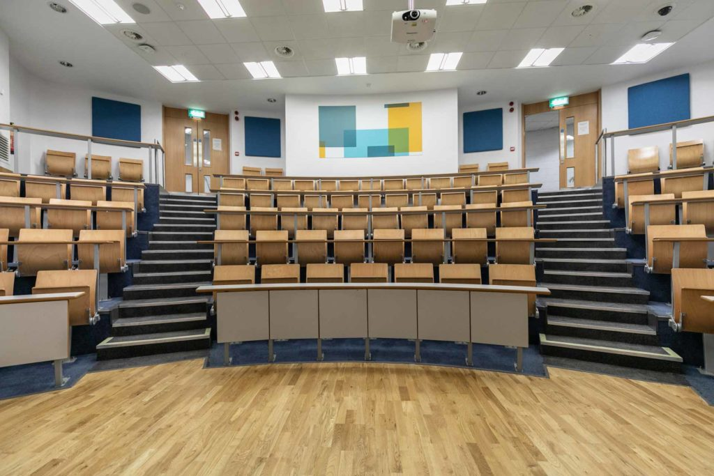 DCU Glasnevin campus view of the theatre style room for 112 people